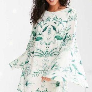 Kimchi Blue Bell Sleeve Leaf Print Mini Dress